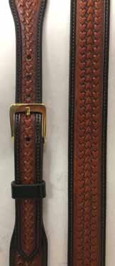 TIPS Chestnut Arrowhead Basket Belt. Hand made in our saddle shop using the finest leathers. We hand finish each belt to give it that special feel and to insure you will enjoy many years of service.