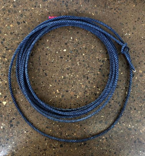 This blue rope is 100% nylon and is becoming one of our best sellers. Available in 40', 50' and 60'in lays xxsoft,xsoft,soft,and msoft. Single ropes usually ship via USPS