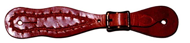 Harness Leather with Barbwire Stamp