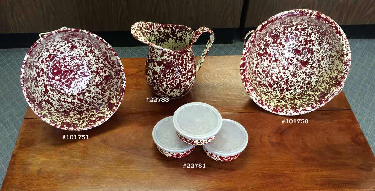 Burgundy marbled enamelware is dishwasher safe, functional and durable for the country kitchen.