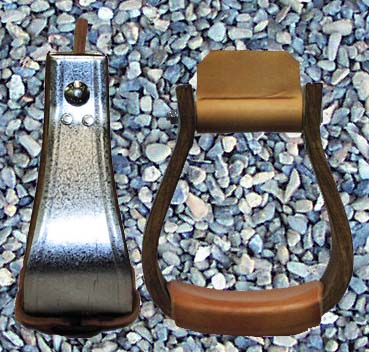 These Galvinized Moran bell shaped stirrups are available in a variety of widths. Each stirrup is treaded by hand with leather to give the rider more comfort and control. Available in overshoe widths in 21/2