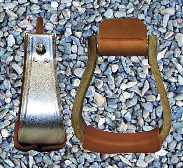 These Galvinized Visalia stirrups are available in a variety of widths and come with leather treads