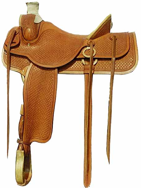 This Improved Association tree features a full Pin Wheel tooling pattern with a Rope border and a full adornment of rawhide on the horn, cantle, gullet, hobble ring, and stirrups. Great for riding and roping.