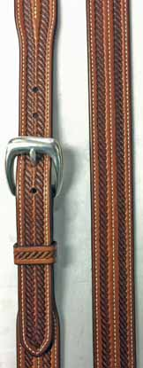 TIPS hand tooled Double Rope belt is hand made in our saddle shop. Each belt is carefully selected from the best part of the hide, tooled lined, sewed and hand finished to give you the finest belts available.