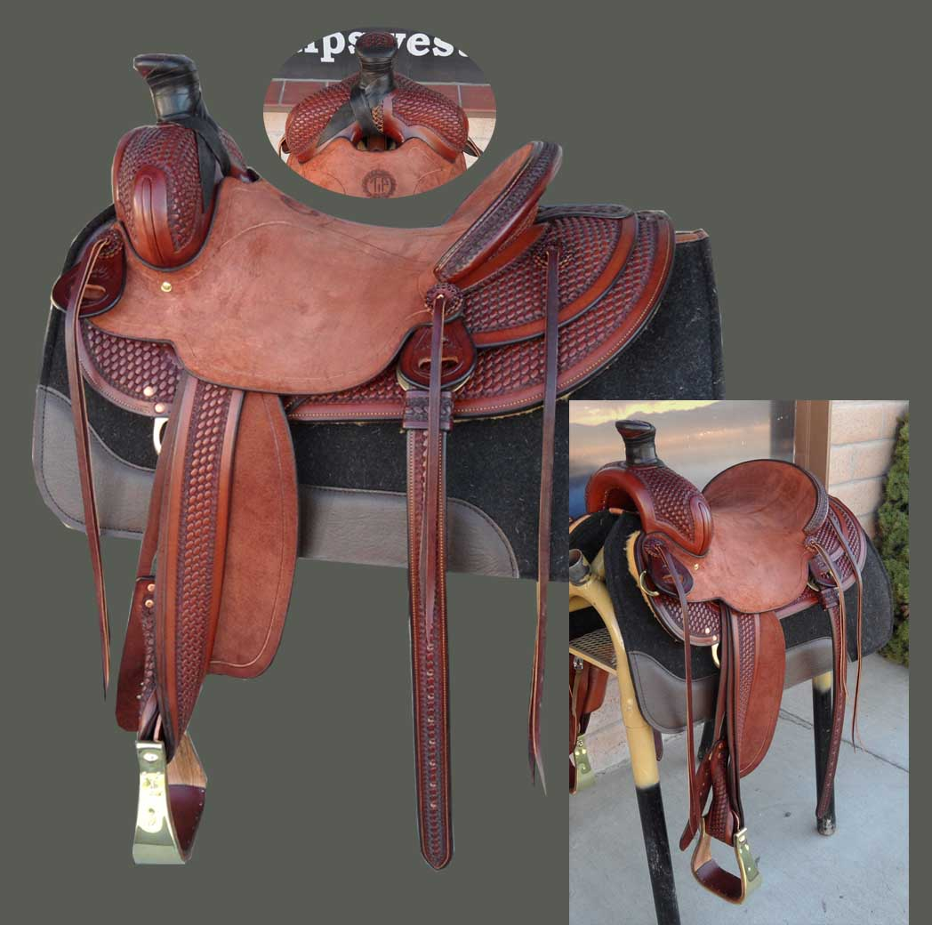 Buy this handsome chestnut color halfbreed tooled saddle today. This saddle is made on a Buster Welch tree with bar risers added for roping strength. Seat is 153/4