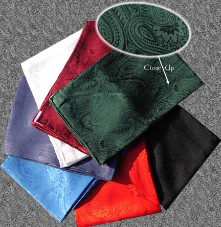 100 percent Heavy Silk Paisley Wild Rags measure 36 x 36. They are long enough to go around your neck twice.