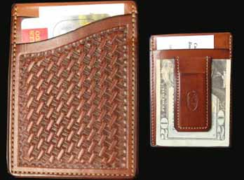 Basket Weave Chestnut hand tooled credit card wallet with a very strong magnet money clip on the back. This wallet has 4 pockets for extra cars, money or business cards. Easily fits in shirt pocket or front pocket. 27/8