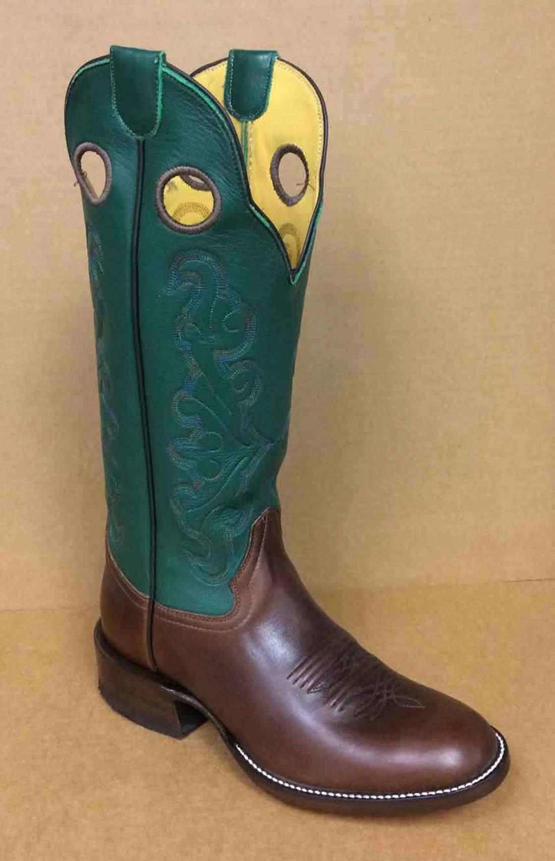 We have this boot made with a dark green 14